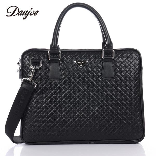 DANJUE Men Handbag Genuine Leather Knitting Men Bag Trendy Laptop Bag Totes Male Leather Briefcase Fashion Messenger
