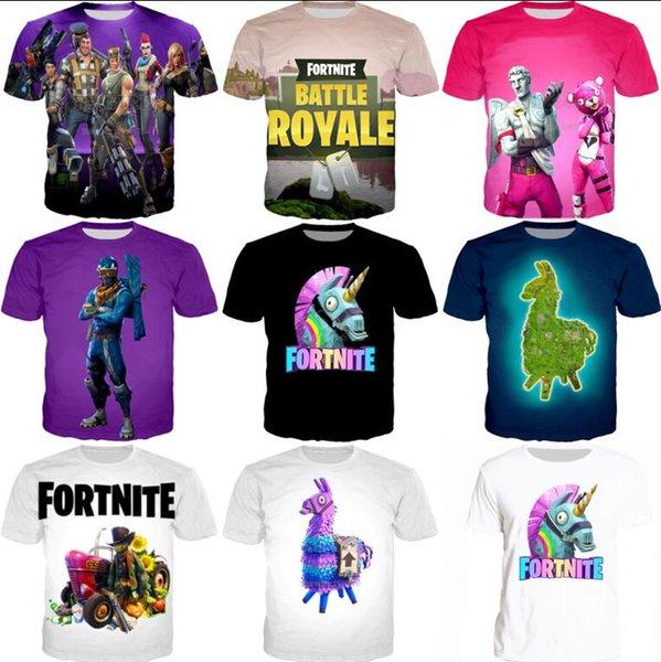 Wholesale 3D printed Fashion Game Fortnite T-shirts New Men Women Fancy Print T shirt Short Sleeves Summer Tops Tee Free Shipping