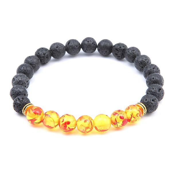 2 Color Charm Reiki Healing Balancing Round Beads Bracelet Elastic Bracelet Volcanic Stone Jewelry Protection Energy Healing Free DHL D416S