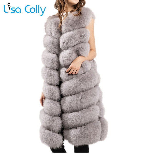 Lisa Colly New Women's Faux Fur Vest Coat Furry Fake Fur Winter Warm vest coat Jacket Luxury Outerwear  Long