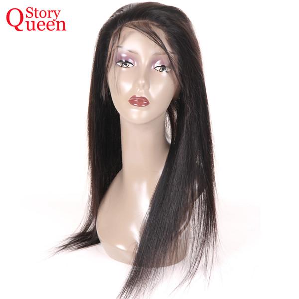 Queen Story 360 Cordón Cierre frontal con pelo de bebé Brasileño recto Pelo Remy humano Natural Color negro Pre Arrancado