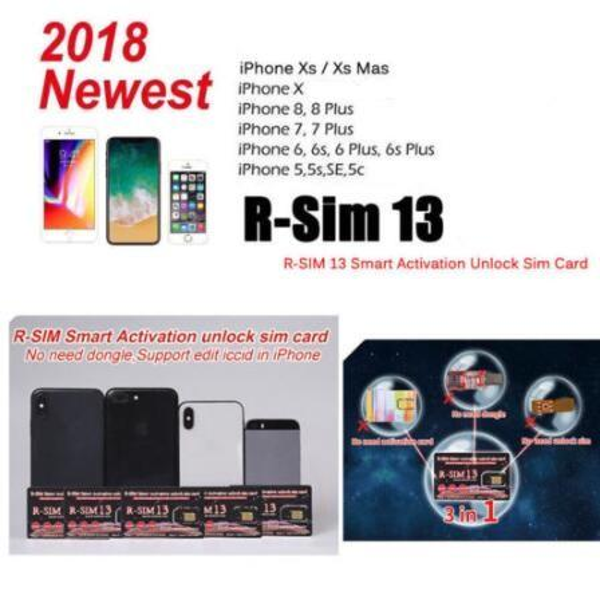 20pcs nuova scheda di sblocco Nano-SIM R-SIM13 4G Ios 12 per iPhone XR / XS / X / 8 / 8P / 7 / 7P / 6s