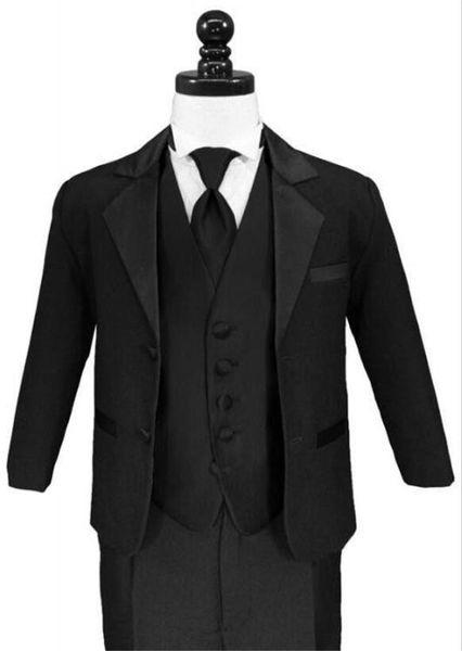 Three Piece Black Notch Lapel Boys Formal Wear Occasion Two Buttons Wedding Kids Suits (Jacket+ Pants + Vest)