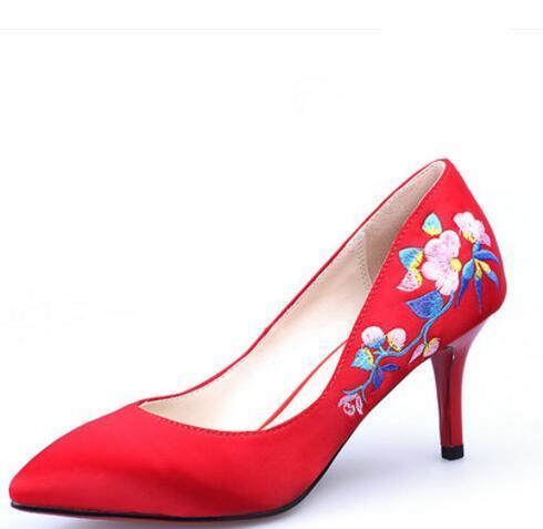 bajo costo 75924 fad0d Compre Boda China Novia Bordada Rojo De Tacón Bajo Boca Baja Zapatos De  Boda Mujeres Embarazadas Zapatos Rojos Vestido Tostado Zapatos A $50.26 Del  ...