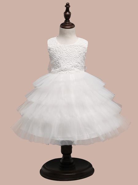Korean version of children wedding skirts white girls princess dress floral tutu tulle multi-layer skirt table show dresses