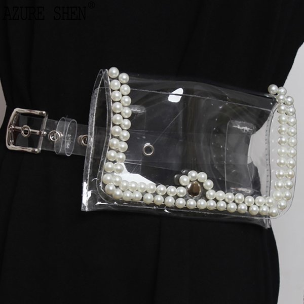 [EWQ] New Summer 2018 Fashion pearl Small bag decoratie transparent high qualty PVC belts women all-match QD428