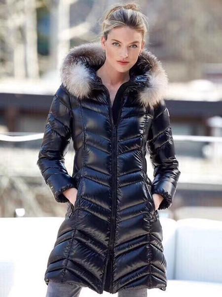 top popular Women Winter Jacket Ladies Real Fox Fur Collar Duck Down Inside Warm Coat Femme Long Coat 780 2019