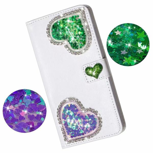Bling Elmas Deri Cüzdan Kılıf iphone XS MAX XR X 10 8 7 6 SE 5 3D Kalp Quicksand Glitter Aşk Yıldız Sıvı Lüks Telefon Kapak Çevirin