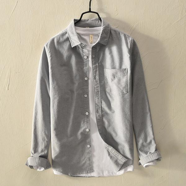 Suehaiwe's brand long sleeve cotton shirt men solid autumn gray fashion shirt mens Italy style comfortable shirts male chemise