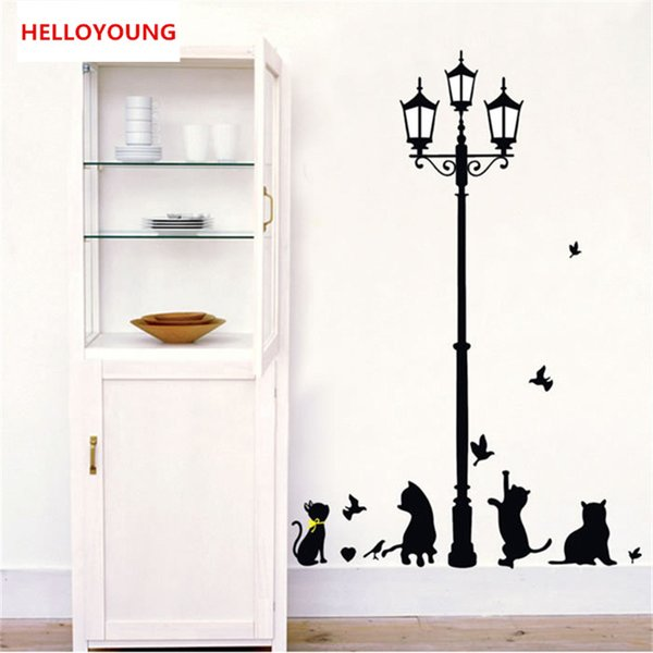 DIY Cartoon Wall Sticker The black cats under the lights All-match style Wallpapers Mural Art Waterproof Wall Stickers