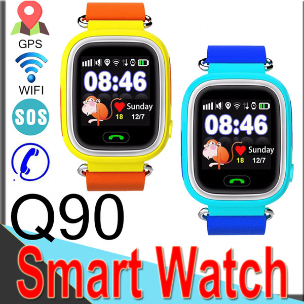 Free Shipping Q90 GPS Phone Positioning Fashion Children Watch 1.22 Inch Color Touch Screen WIFI SOS Smart Watch R9