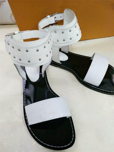Las mujeres más nuevas de la marca de tacón bajo de cuero negro sandalias nómadas zapatos urbanos de verano sandalias de lona de cuero tobillo wrap diapositiva