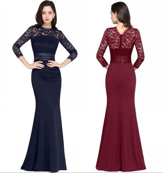 Compre Sirena De Vino Tinto Vestidos Largos De Noche Satén Encaje O Cuello Cremallera Hasta El Suelo Vestidos Vestidos De Fiesta Para La Noche Dh4077
