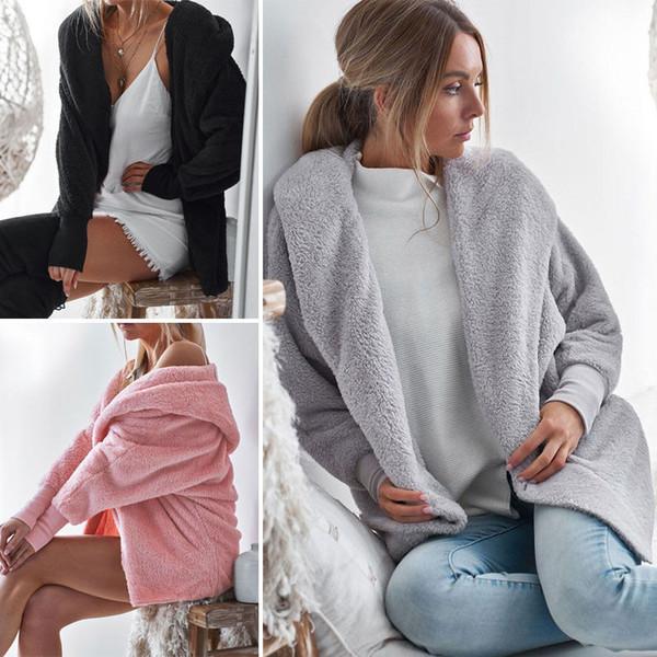 Fashion Women Coat Jacket Outerwear Tops Winter Warm Hooded Fluffy Coat Cardigan Fashion Women Overcoat New Arrival