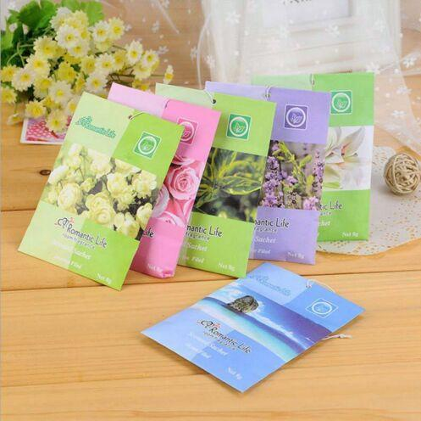 100Pcs Aromatherapy Natural Smell Incense Wardrobe Car Sachet Air Fresh Scent Bag Perfume Vanilla Rose Lily Lavender Auto Sachets