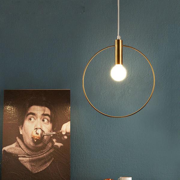 Modern Pendant Light circle ring hanging Lamp metal gold pendant lamp For Kitchen Arts Decoration home lighting E14 Light Fixtures