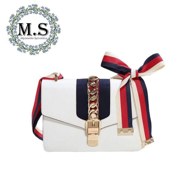 M.S Pañuelos Paneled Bolsos de Rayas Hechos de Cuero Marca Pequeña Moda Bolsos de Hombro Bolso de Las Mujeres Totes Diseñador de Lujo WB398