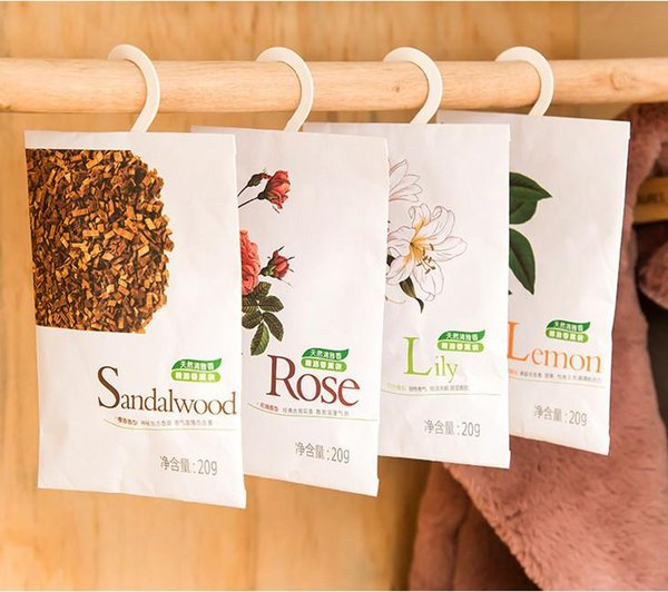 Wholesale- 6 Taste Fresh Air Scented Fragrance Home Wardrobe Drawer Car Perfume Sachet Bag Aromatherapy package