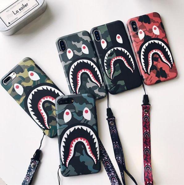 Bocca di squalo camuffamento marchio Tide per iphone XS MAX guscio di telefono cellulare iPhone8 matte coppia 6s / 7 cordino creativo telefono intelligente TPU