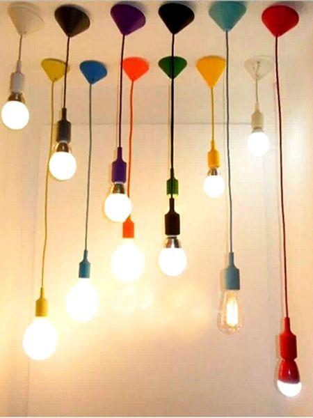 E26/E27 Socket Colorful 1M rope PVC sillicone Pendant Ceiling Light Lamp Bulb Holder Candy Color Decorative lights lighting