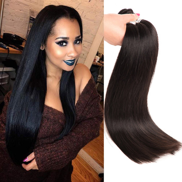 Straight Human Hair Long Inch 30-40inch Indian Raw Virgin Hair Remy Hair Products Straight 3 Bundles One lot