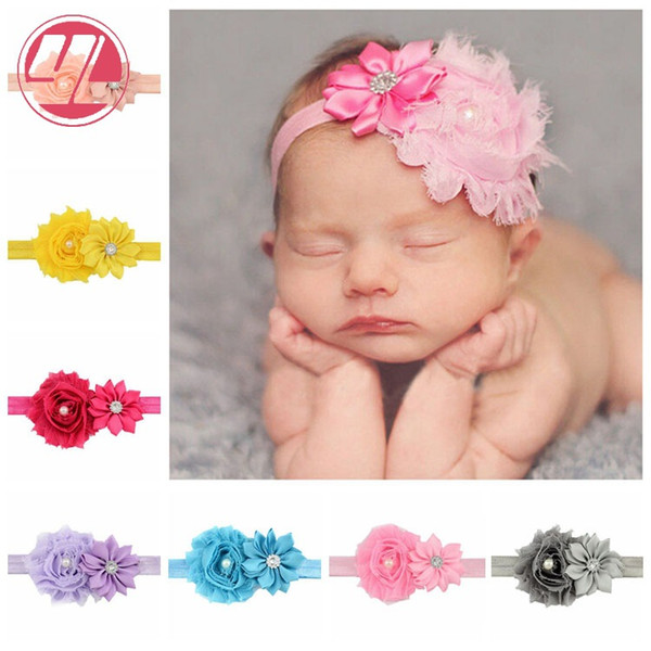 Baby Girl Chiffon Flower Headband With Pearls Beautiful Baby Girl Christening Photo Prop Hair Accessories
