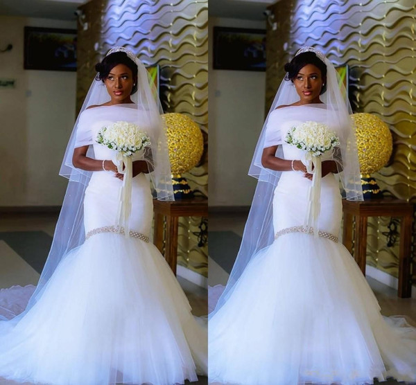 2018 Cheap African Mermaid Wedding Dresses Sweetheart Tulle Beaded Crystal Pleated Ruched With Wrap Jacket Vestidos Plus Size Bridal Gowns