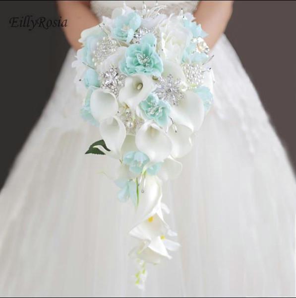 Bouquets de casamento Titular Cachoeira Azul Branco Cristais de Lírio de Calla Bridal Bouquet para Bridesmaid Corsage Broche bouquet de mariage