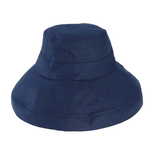 Womens Sun Protective Sun Block UV Protection Foldable Wide Brim Cotton Bucket Hat (Dark Navy)