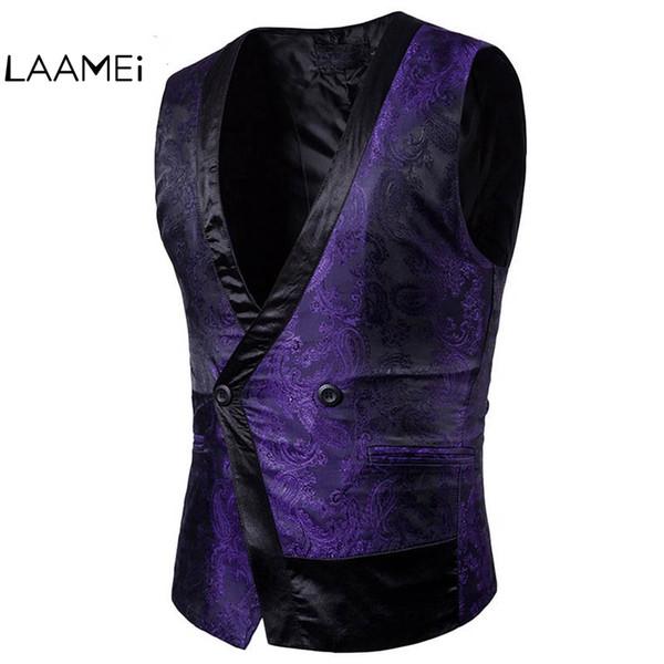 Laamei Brand Fashion Single Button Men Vests Solid Obscure Design Dress Suit Vests Male Formal Slim Business Jacket Top homme
