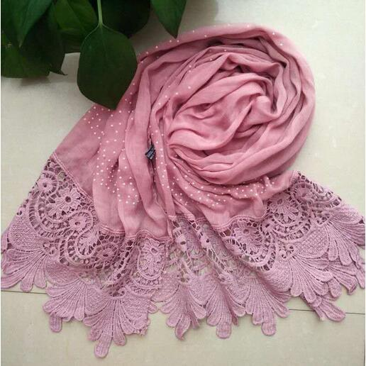 9 color Luxury diamond cotton Fashion lace scarf hijab floral glitter beach long muslim autumn wrap scarves