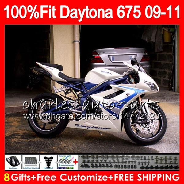 Injection For Triumph Bodywork Daytona 675 2009 2010 2011 2012 107HM.46 Daytona 675 09 10 11 12 blue silver Daytona-675 Daytona675 Fairing