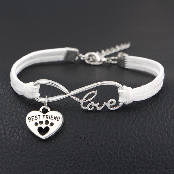 Bohème Infini Amour Amour Griffe De Patte Meilleur Ami Coeur Bracelets à Bracelets Pour Femmes Hommes Ethnique Blanc En Cuir Corde Manchette Bracelet Bijoux