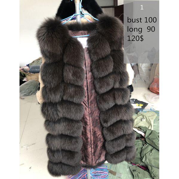 70-90CM Natural Real Fox Fur Vests Winter Long Thick Women Genuine Fur Vest Jacket Real Fur Vest Coat Factory Direct Wholesale Y18102501