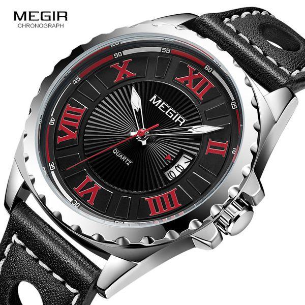 MEGIR Men's Retro Waterproof Quartz Watches Fashion Leather Strap Roman Numerals Analogue Wrist Watch for Man ML1019