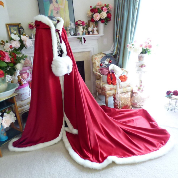 2019 Pelz Wrap Mit Hut Lange Winter Braut Cape Kunstpelz Weihnachten Mäntel Jacken Mit Kapuze Für Winter Hochzeit Brautverpackungen Rot Lila Jacken