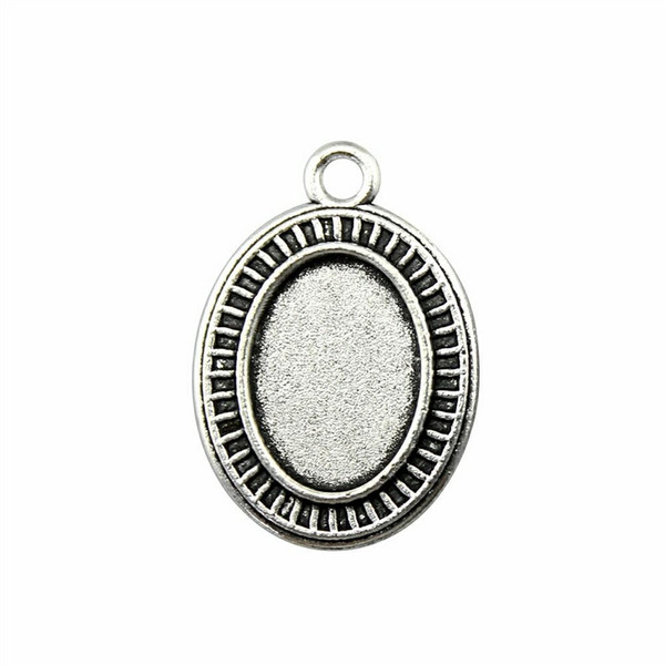 18 Pieces Cabochon Cameo Base Tray Bezel Blank Accessories Parts Train Track Single Side Inner Size 13x18mm Oval flatback resin cabochons