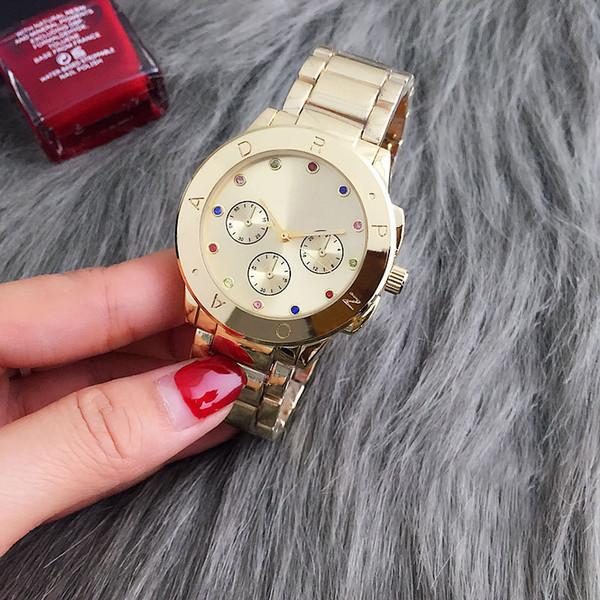 Marca de moda Mujeres de las mujeres colorido cristal 3 Diales estilo metal banda de acero reloj de pulsera de cuarzo P23
