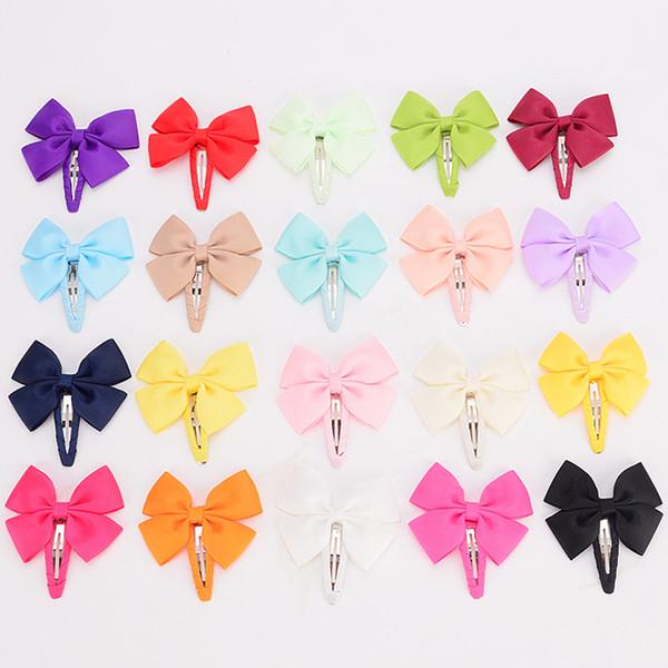 30pcs /Lot 2.5 Solid Ribbon Bows Elastic Hair Clip Barrettes Kids Hairpins Bow For Little Girl Hair Accessories Headwear