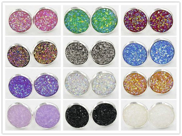 best selling 12mm Womens Resin Druzy Crystals Gem 925 Silver Plated Color Stud Bling Earrings Jewelry Gift