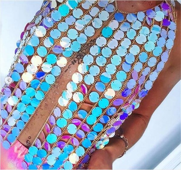 2018 Sommer Sexy Frauen Luxus Kristall Mesh Top Pailletten Metall Plain Sparkly Halter Nachtclub Party Weste