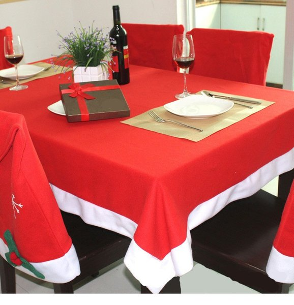 7pcs/set Christmas Hat Dinner Cloth Chair Covers Desk Chair Covers Santa Clause Red Cap Chair Cover Case Set Xmas Party Decor AAA715