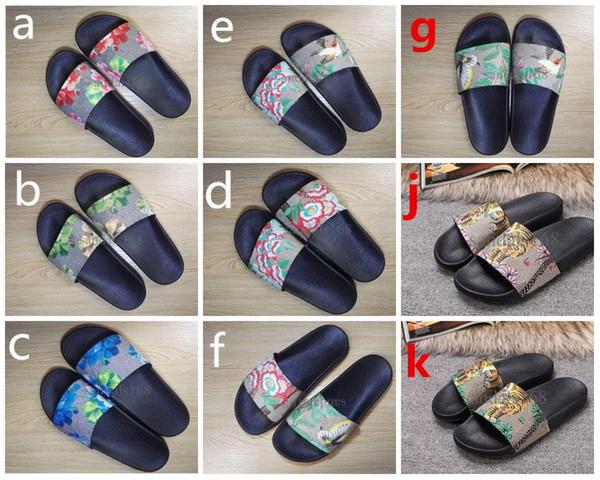Eur35-46 tasarımcı sandalet 2018 erkekler kadınlar moda kaplan baskı deri trek slayt sandalet kauçuk taban yaz açık plaj erkek terlik