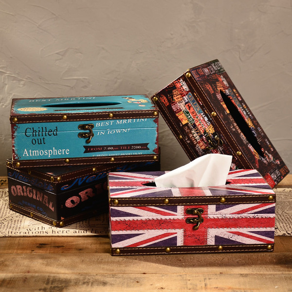 Retro USA Liberty Route 66 Art Painting Napkin Storage Tissue Boxes England Big Ben Car Licence Plate Home Decoration Craft