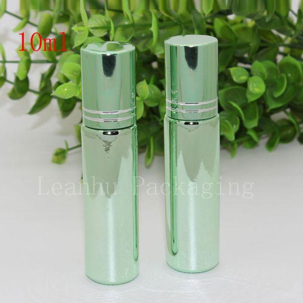 10ml X 24 Rodillo de metal en botella de vidrio UV verde para aceites esenciales perfumes 10CC Roll-on envase de vidrio roll de lujo en vial