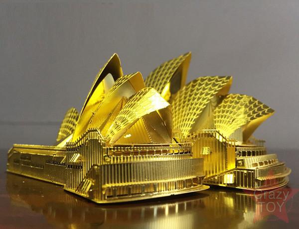 Kits de blocos de construção de brinquedos 3d puzzle de metal kits de construção de ópera de sydney kits modelo diy diy 3d corte a laser montar brinquedos de serra de vaivém