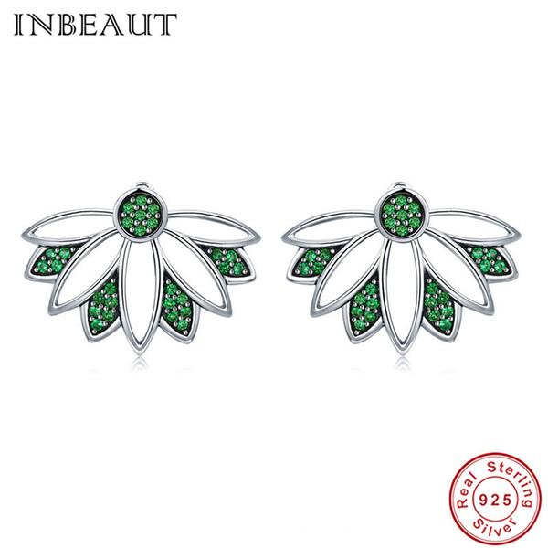 Оптовая стерлингового серебра 925 зеленый цирконий лист круглый камень проложили серьги стержня для женщин элегантный завод формы ювелирных изделий