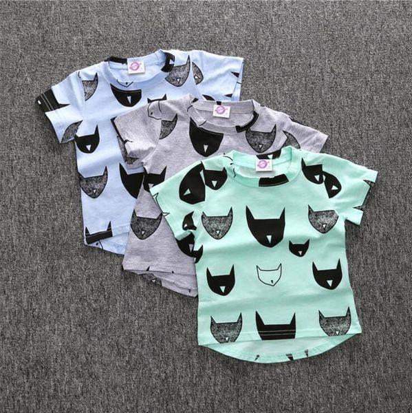 Fox INS Kids Shirts Cotton Short Sleeve Boy T Shirts Animal Printed Toddler Tops Summer Kids Clothing 3 Colors DHT438