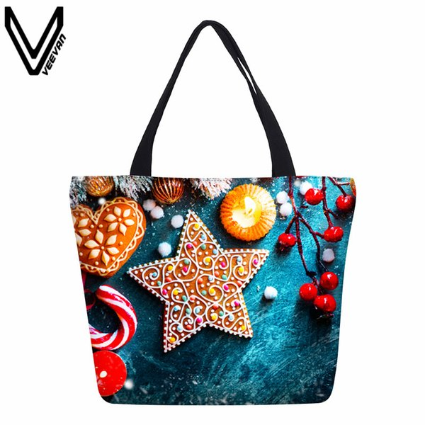 VEEVANV 2017 fashion casual style Christmas bell shopping bag snowman hamburger high quality handbag cartoon canvas woven bag