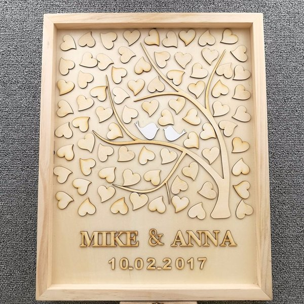 2019 Personalised Love Wedding Tree Guest Book, Guestbook With Heart/Birds,  Family Tree Guest Book Wedding Party Signature Supplies From Youerwedding,